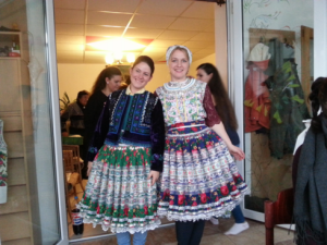 Lillian and Christina (Slovak teacher) trying the costumes